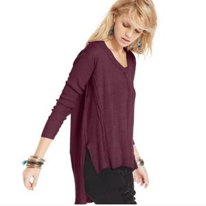 Free People Plum Ribbed High Lo Sweater